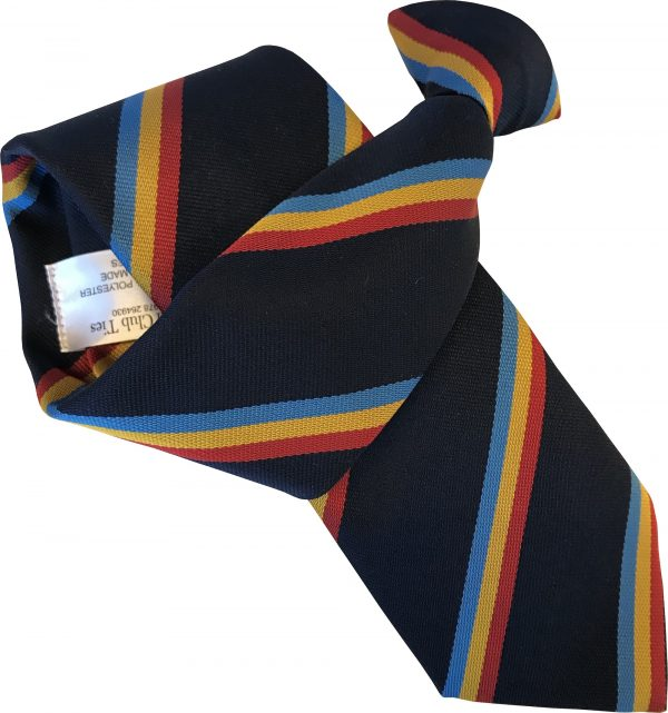 Navy Blue with Sky, Gold and Red Stripes Clip On Tie
