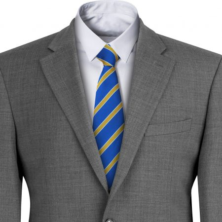 Royal Blue with Yellow Stripes Bordered with White Mens Clip On Tie