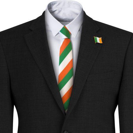Green Orange and White Irish Flag Striped Mens Tie