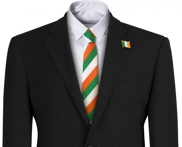 Green Orange and White Irish Flag Striped Mens Tie