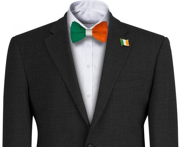 Green Orange and White Irish Flag Mens Bow Tie