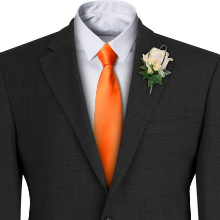 Orange Satin Wedding Tie