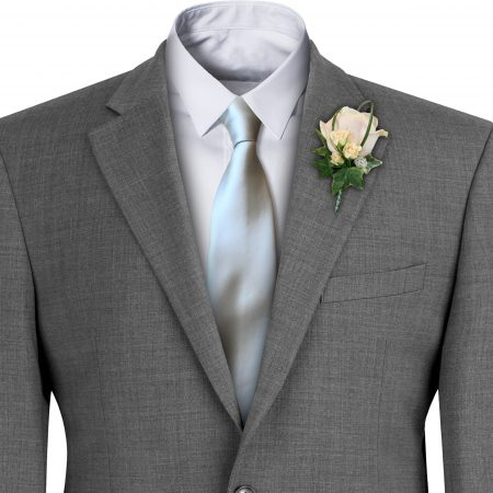 Silver Satin Wedding Tie