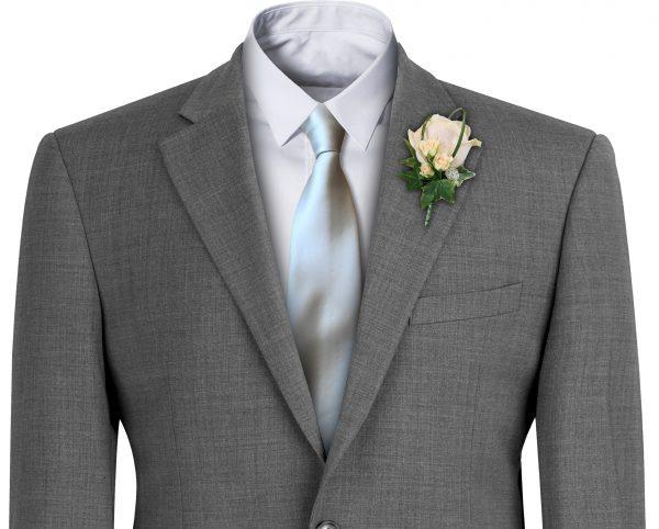 Silver Satin Wedding Tie