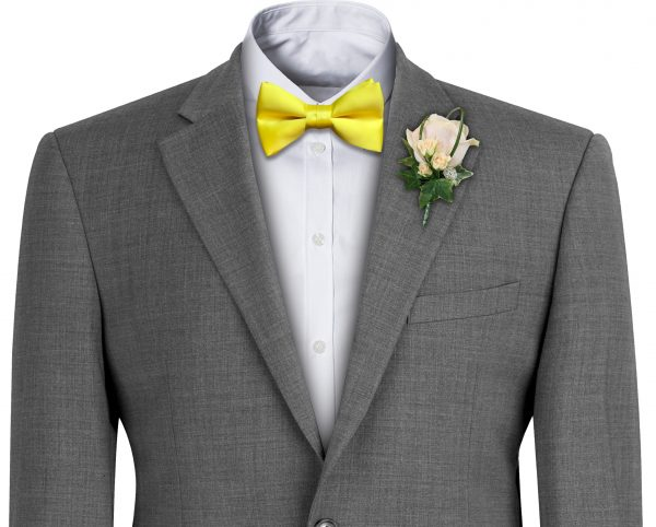 Yellow Satin Wedding Bow Tie